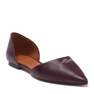Coach Pointed Toe Leather d'Orsay Flat New $195